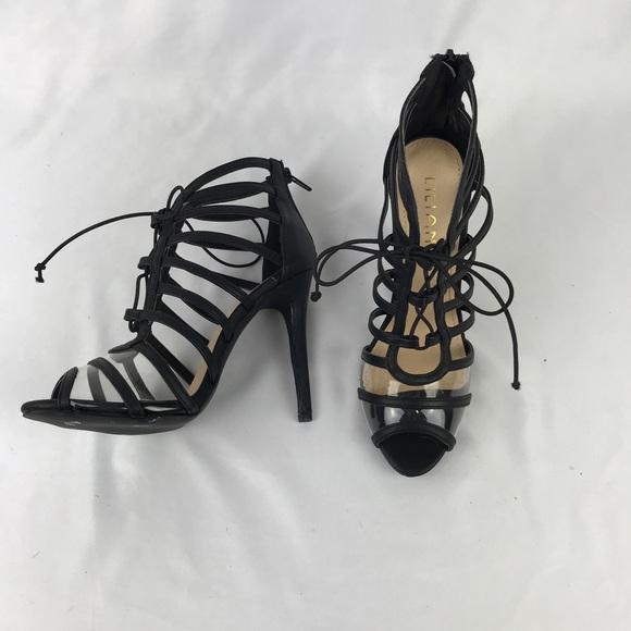 65a00e8e0e Liliana Shoes   Nwob Black Strappy Lace Up Heels Peep Toe   Poshmark